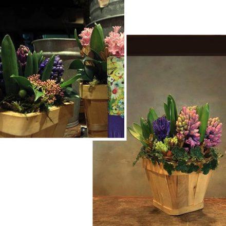 春の花で作るアレンジメント