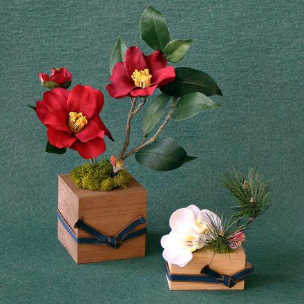 椿と胡蝶蘭の新春アレンジメント(2個セット)