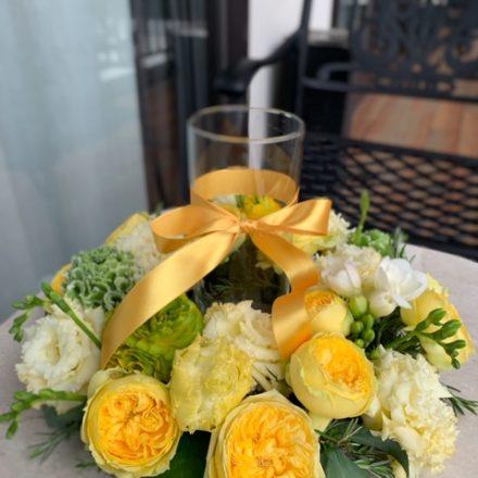 ミモザと春のお花のテーブルリース (生花)