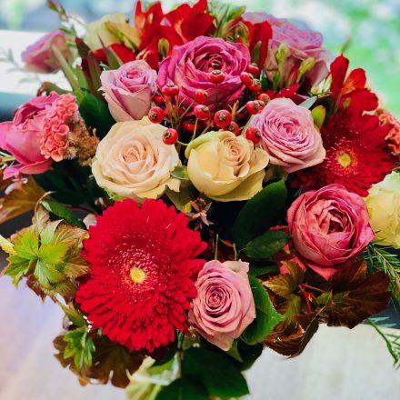 秋のバラでロマンティックな花束を (生花)